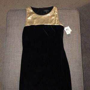 Velvet Black Dress with Gold Sequin Accent